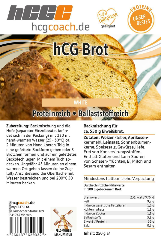 hCG-Brotbackmischung 4er Pack (4 x 250 g) White