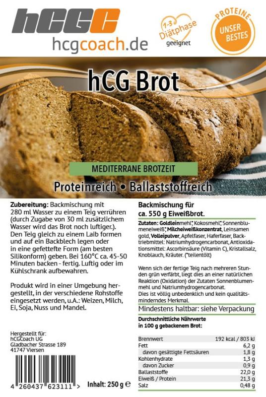 Brotbackmischung mit nur 1,3g Kohlenhydrate pro 100g   hCG-Diät geeignet   3er Pack (3 x 250 g) 3 x Mediterran